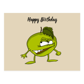 Green apple cartoon character with a vicious smile postcard