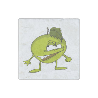 Green apple cartoon character with a vicious smile stone magnets