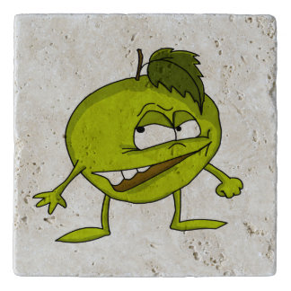 Green apple cartoon character with a vicious smile trivet