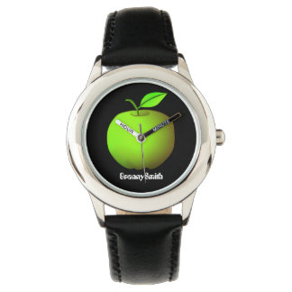 Green Apple Cool Black Granny Smith Chic Fashion Watch