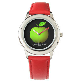Green Apple Cool Red Granny Smith Hipster Fashion Watch
