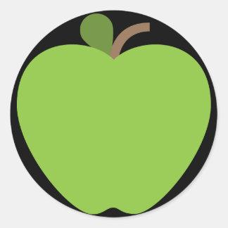 Green Apple Emoji Classic Round Sticker