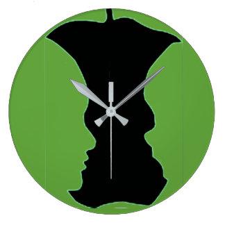 Green Apple Figure-Ground Photo Large Clock
