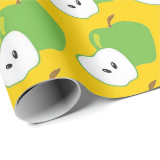 green apple fruit pattern wrapping paper