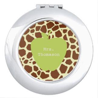 Green Apple Giraffe Teacher Compact Mirror