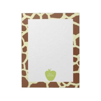 Green Apple Giraffe Teacher Notepad