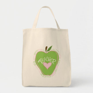 Green Apple & Heart Alphabet Teacher Bag