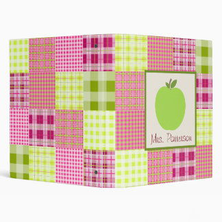 Green Apple Madras Inspired Plaid Teacher Binder