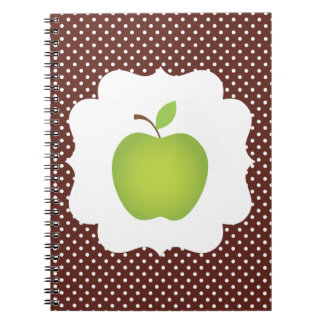 Green Apple on Brown Polka Dot Background Notebook