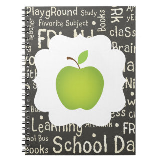Green Apple on Chalkboard Background Spiral Notebook