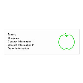 Green Apple Outline. Mini Business Card