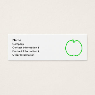 Green Apple Outline. Mini Business Card