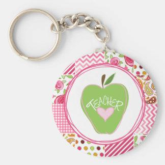 Green Apple & Patchwork Teacher Keychain
