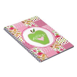 Green Apple & Patchwork Teacher Notebook
