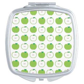 Green Apple Pattern Compact Mirror