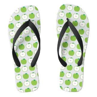 Green Apple Pattern Flip Flops