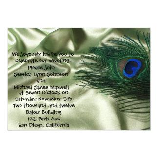 Green Apple Peacock Sill Life Wedding Card