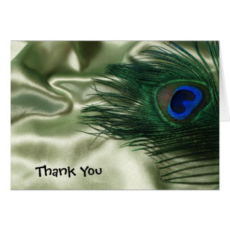 Green Apple Peacock Still Wedding Thank You Card