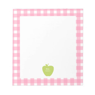 Green Apple Pink Gingham Teacher Notepad