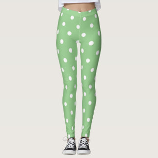 Green Apple Polka Dots Leggings