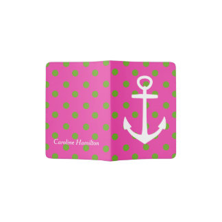 Green Apple Polka Dots on Pink with White Anchor Passport Holder