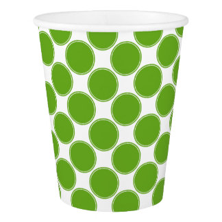 Green Apple Polka Dots on White Paper Cup