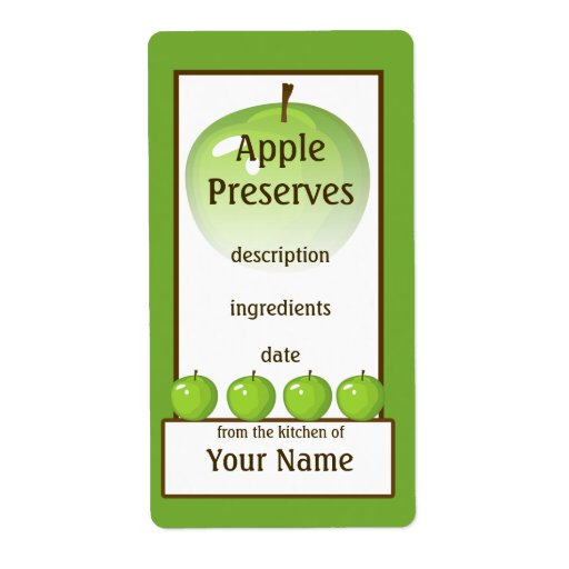 Green Apple Preserves Label