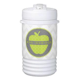 Green Apple Quatrefoil Teacher Beverage Cooler