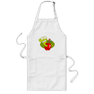 Green Apple Red Worm School Theme Long Apron