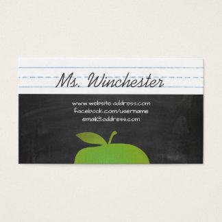 Green Apple School Teacher Education Chalkboard Business Card