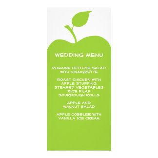 Green Apple Wedding Menu Rack Card Template