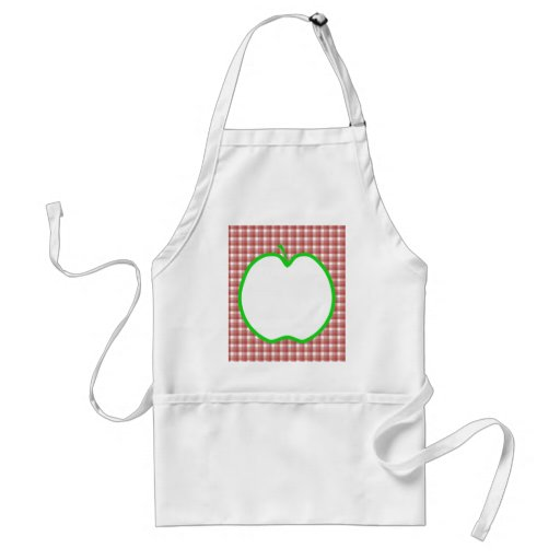 Green Apple with Red and White Check Pattern. Aprons
