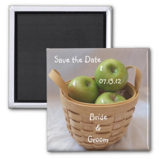 Green Apples Save the Date Square Magnet