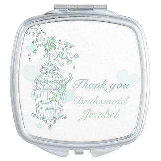 Green aqua bird wedding favor bridesmaid mirror mirror for makeup