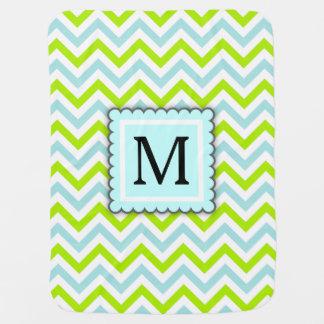 Green & Aqua Blue Chevron Custom Monogram Baby Blanket