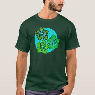Green & Aqua Hawaiian Hibiscus Tropical Flowers T-Shirt
