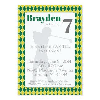 Green Argyle Golf Birthday Invitation