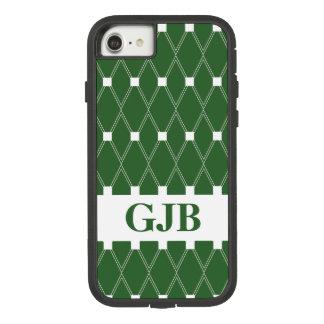 Green Argyle Lattice with monogram Case-Mate Tough Extreme iPhone 8/7 Case