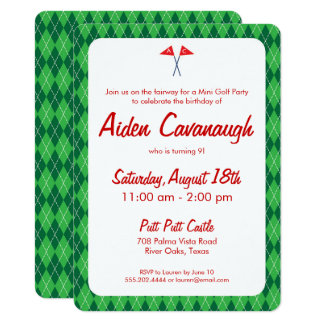 Green Argyle Mini Golf Kids Birthday Invitations