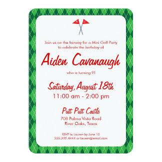 Green Argyle Mini Golf Kids Birthday Invitations