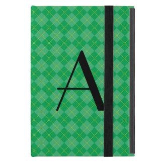 Green argyle monogram iPad mini cases