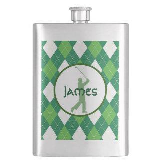 Green Argyle Pattern and Golf Flasks