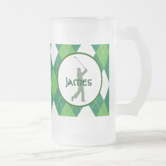 Green Argyle Pattern and Golf Frosted Glass Beer Mug