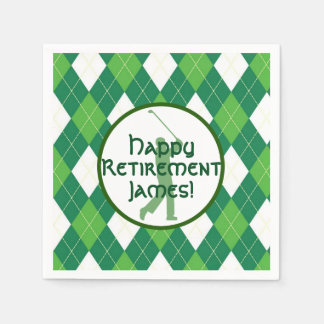 Green Argyle Pattern and Golf Party Paper Napkins