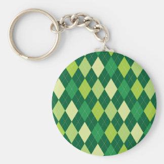 Green argyle pattern basic round button keychain