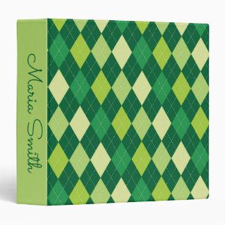 Green argyle pattern binder