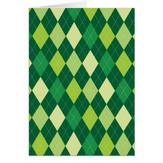 Green argyle pattern card