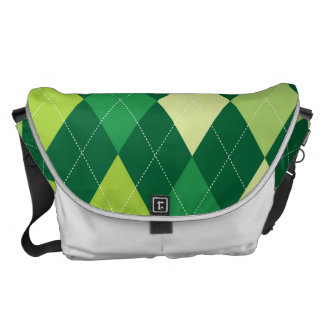Green argyle pattern commuter bag