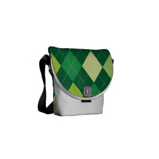 Green argyle pattern commuter bags