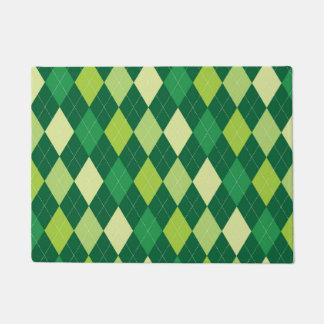 Green argyle pattern doormat